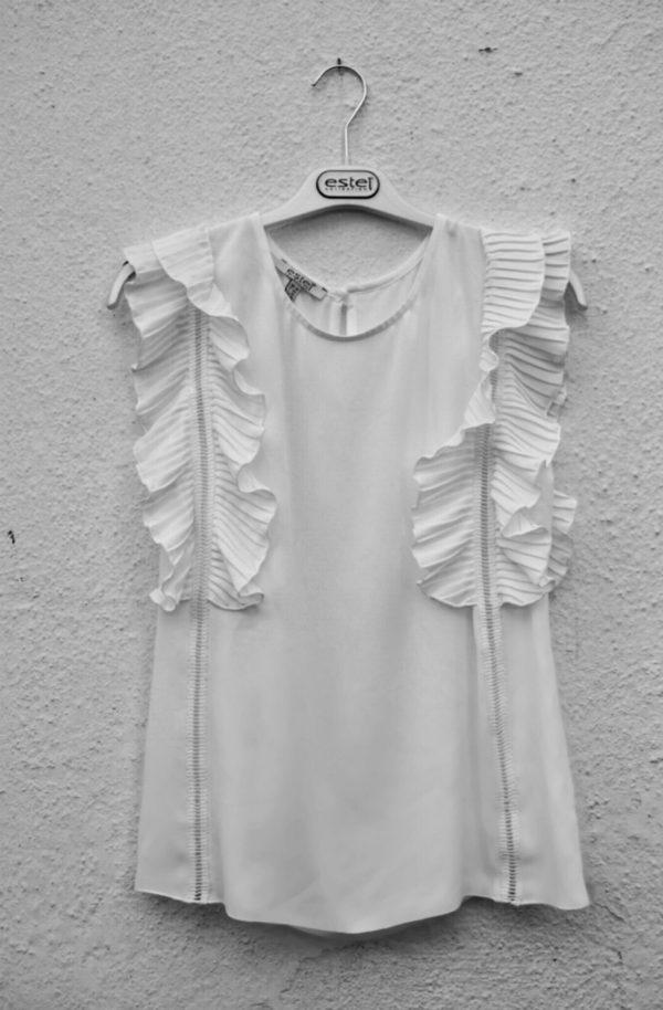 Estel Collection Γυναικείο Δαντελένιο Top Λευκό | 05909-00